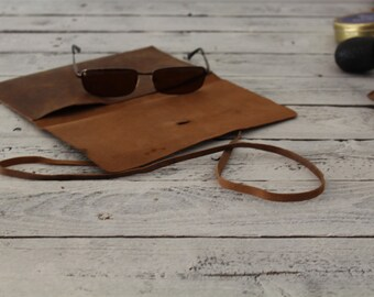 Sunglass Case - Leather Pouch - Monogramed Leather Pouch