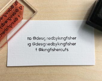 Personalised rubber stamp. social media stamp - custom business stamp - personalized stamp - business card stamp.
