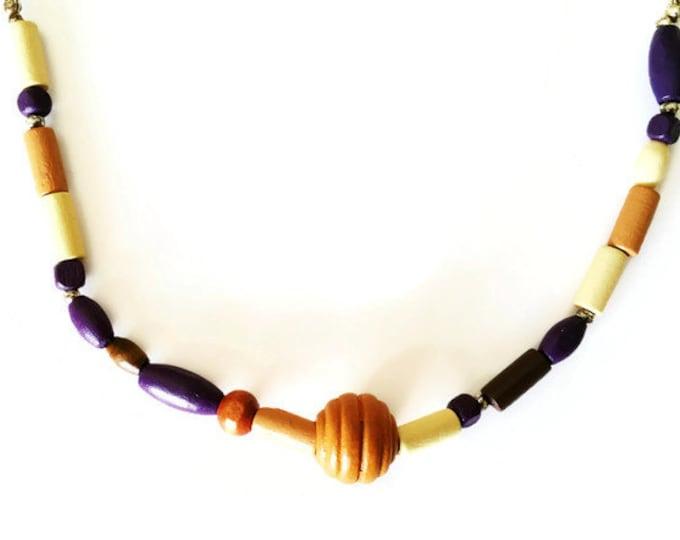 Wooden Boho Style Beaded Leather Necklace, Unisex Necklace, Beaded Leather Necklace