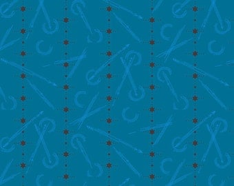 Seventy-Six by Alison Glass Numbered in Peacock A-8449-B cotton fabric andover modern material quilting supplies blue