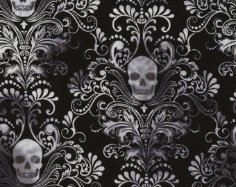 Black Skull Damask Cotton Lycra Jersey Knit from Timeless Treasures  50% 4 way stretch 95/5 cotton/lycra CS3759-BLK City Knits