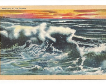 Postcard - Breakers in the Sunset - Vintage Postcard    SKU11719