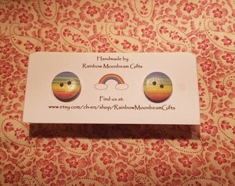 Rainbow Stripe Button Earrings, Silver plated Studs