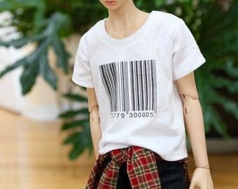 BJD SD17 Barcode Loose T Shirt - White