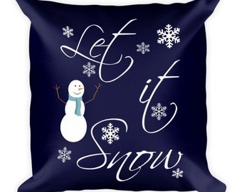 Holiday Winter Decor/Decorative Pillow/Throw Pillow/Custom Pillow/Double sided/18x18/LET IT SNOW/Merry & Bright
