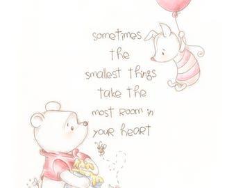 Winnie the Pooh print, classic pooh, home decor, wall art print, quote