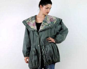 Vintage green parka, 80s parka, oversize parka, floral pattern, Green Hooded Coat 80s Green Parka Jacket, large size