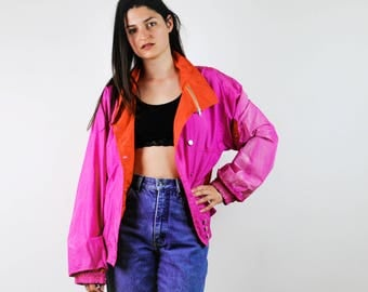 Vintage 80s windbreaker, pink, red, orange tracksuit, old school windbreaker, sports fitness, Running, neon color, rare