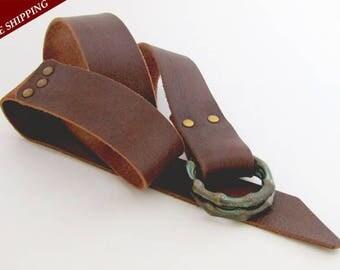 Womens leather belt -  Bronze buckle belt - Leather belt - Handmade belt - Double ring buckle - Brown leather belt -Custom made leather belt
