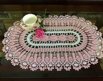 Rose Quartz Crochet Doily - Pineapple Doily - Handmade Doilies - Home Decor - Wedding Gift - French Country Decor - Crochet Lace Doily -