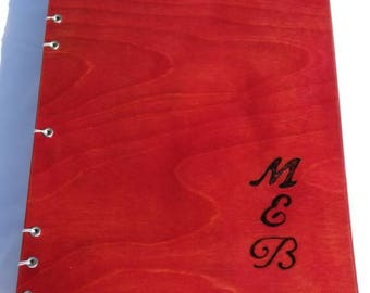 Handmade book ( journal, notebook, scrapbook ) with dyed birch wood covers and heavy duty water color paper
