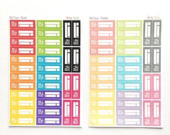 Bill Due Stickers - Planner Stickers