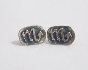 Sterling Scorpio Pirced Earrings Zodiac Earrings Zodiac Jewelry Scorpio earrings Scorpio jewelry Sterling Jewelry Sterling Earrings