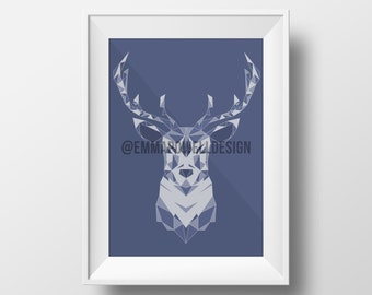 Blue Deer Christmas Winter Print in Low Poly Style