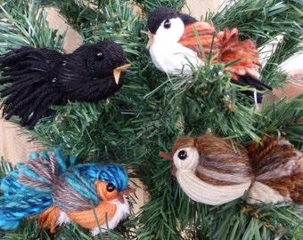 Handmade Rustic Yarn Bird Christmas Ornaments (Set of 4)
