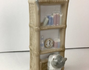 """Vintage music box cat figurine, A Summit Collection Exclusive music figurine, Porcelain Kitten music box,  Plays the song """" Always"""","""