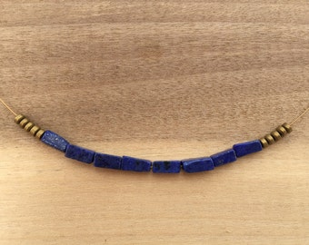 "Lapis Stone Necklace with Gold colored Hematite Metal Beads (21"" long)"