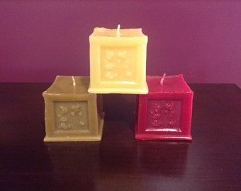 DISCOUNT ALERT:  100% Pure Beeswax Raised Ivy Square Pillar Candles (set of 3) - Handmade Candle