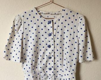 Cute 80s polka dot blouse