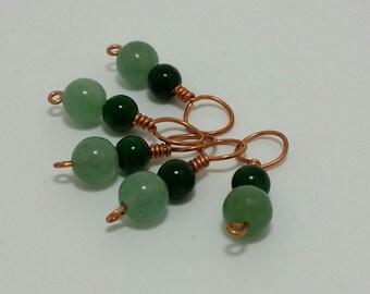 Emerald & Prehnite Stitch Markers