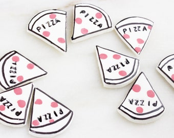 12 Fondant Pizza Toppers, Cupcake Toppers, Edible Toppers, Pizza Party Toppers, Pizza Toppers, Party, Birthday, Celebrations