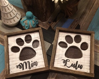 Personalized Rustic Paw Print Silhouette Reclaimed Wood Wall Art
