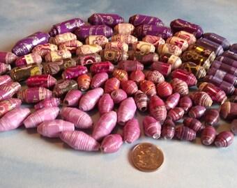 Handmade Paper Beads, Purple/Pink Mix, 100pc.+ 2 Bouns Metal Beads #e-4001+2