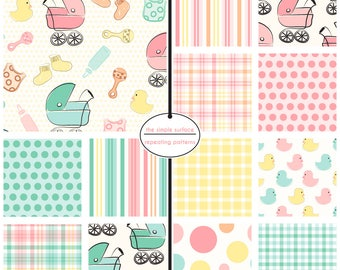 digital scrapbook papers - yellow, pink and green, polka dot, stripe, plaid, pram and duck patterns - INSTANT DOWNLOAD