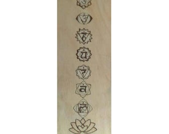 Chakras Original Stained Wood Burned Wall Hanging