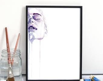 Female Face Painting // 'Juliet' Watercolour Painting // Feminine Art Print