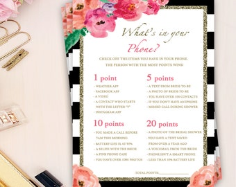 what's in your phone game, phone game bridal shower, black and white bridal shower games, flower bridal shower games, diy bridal shower game