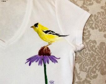 Hand-painted Tees\V-Neck Tee\women's tees\T-shirt for girls\women tee\American Goldfinch\yellow bird\Wild Canary\yellow bird\flower