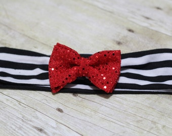 Striped headband with Sequin Bow