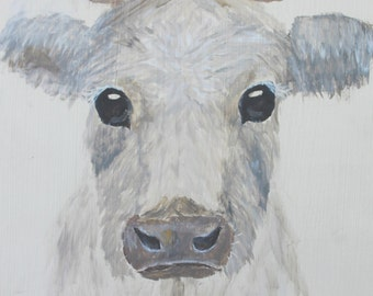 Charlotte French Cow Canvas Print Gallery Wrap by Abby Jane