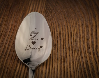Bridesmaid Personalized Spoon, Bridesmaid Gift Idea, Wedding Party Gift, Custom Wedding Silverware