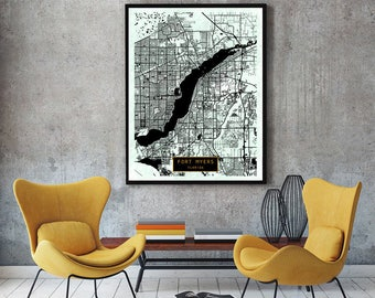 FORT MYERS Florida City Map Fort Myers Florida Art Print Fort Myers Florida poster Fort Myers Florida map art United States of America Jack