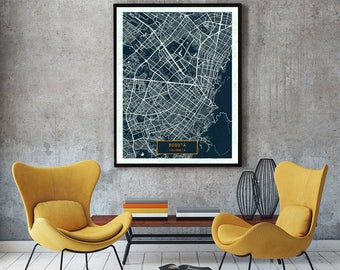 Bogotá Colombia CANVAS Large Art City Map Bogotá Colombia Art Print poster map art jt JackTravelMap