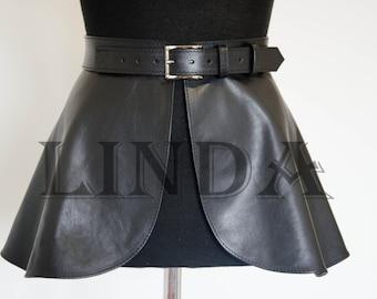 Black Obi Belt Leather Belt Waist Tie belt Leather Obi