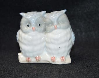 Vintage Otagiri Japan Owls Figurine, Light Blue China Porcelain Pair of Owls, Collectible Owl Figurines, Owl Miniatures, Owl Collection