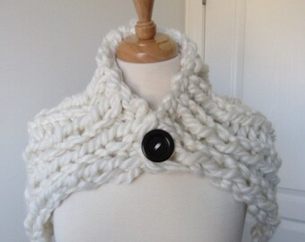 White Shawl with Wood Button
