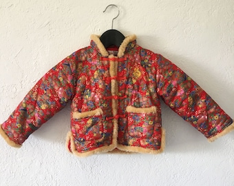 """Vintage Toddler """"Boo Baby"""" Japanese Kimono Style Coat in Red Floral Pattern"""