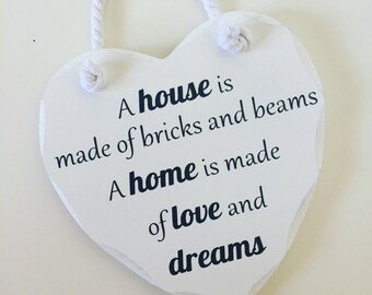 New home heart shaped hanging plaque/sign
