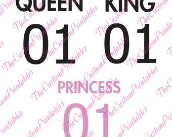 Queen, King, Princess, SVG, Cricut Files, Silhouette Files, Cameo, Vector, T-shirt, Iron On
