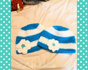 Blue and white stripe hat with flower | SOLD SEPERATELY | Stripe Beanie | Flower hat | Blue Stripes