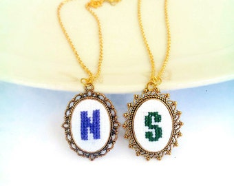 Custom Embroidery necklace with initials Personalized necklace with letter name date coordinates C N S Friendship necklace gifts jewelry