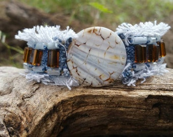 Denim Cuff Bracelet with Agate Centerpiece and Crystals