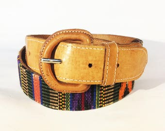 Genuine leather belt with woven pattern