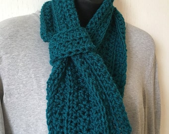 Dark Teal Crocheted Infinity Scarf
