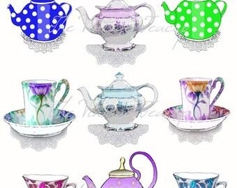 Clip Art Teacups and Tea Pots, 9 Digital Images for Instant Download, PDF, PNG and JPG