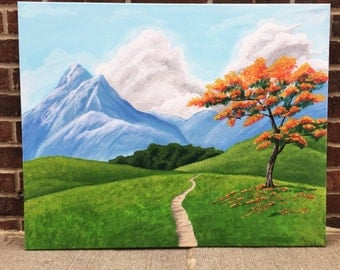 Landscape mountain painting - acrylic landscape painting